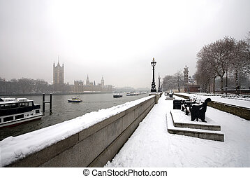 London Snow Scene - The Palace of Westminster, the River ...