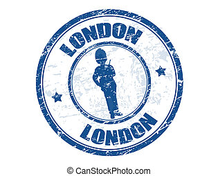 London stamp - Blue grunge rubber stamp with the beefeater...