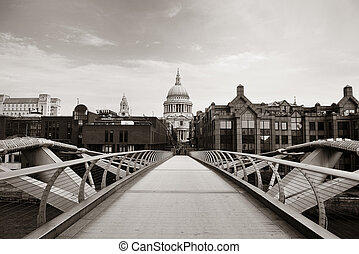 London - St Pauls Cathedral and Millennium Bridge in London.