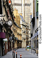 London street - Old and new buildings in city of London
