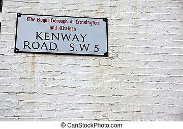 London Street Sign, Kenway Road, Borough of Kensington and Chelsea