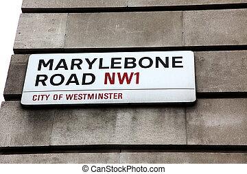 London Street Sign, Marylebone road street
