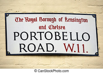 London Street Sign, Portobello Road, Borough of Kensington...