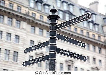 London Street Signpost with Zoo, Regent's Park, Wallace Collection, Madame Tussaud's and WC