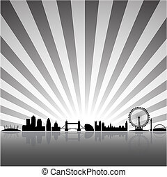 London sunny background - London skyline silhouette on a ...
