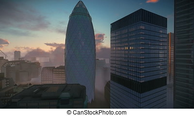 London, sunrise over The Gherkin, Swiss Reinsurance...
