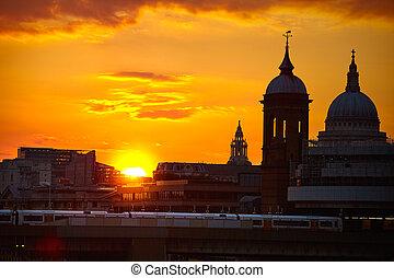 London sunset at Thames with St Paul Pauls - London Bridge...