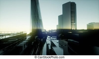 London, sunset. City of London view business and banking arial