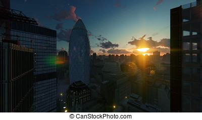 London sunset over The Gherkin, Swiss Reinsurance...