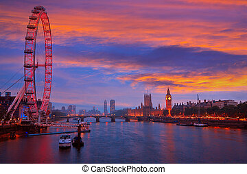 London sunset skyline Bigben and Thames river