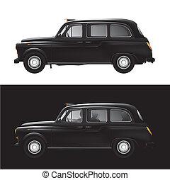 London symbol - black cab - taxi - Detailed vector...