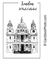 London symbol St. Paul's Cathedral. Beautiful hand drawn vector sketch illustration.