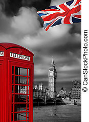 London symbols with BIG BEN and Red Phone Booth in England, UK