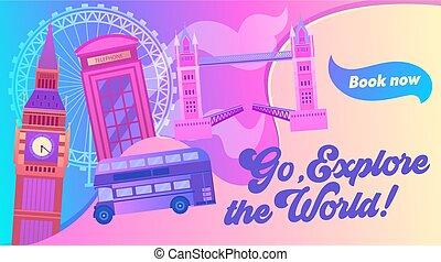 london, syn, eye., stad, enigt, banner., besöka, tecknad ...