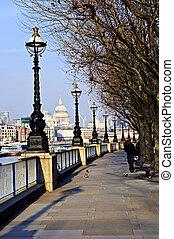 london, synhåll, från, söder strand