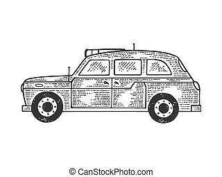 London taxi cab sketch engraving vector illustration. Tee shirt apparel print design. Scratch board style imitation. Black and white hand drawn image.