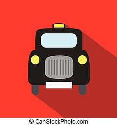 London Taxi long shadow flat vector