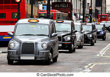 London taxis at Oxford Street no logo no people