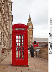 london, telefon, piros, bódé