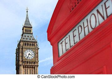 london, telefonzelle, mit, big ben, in, hintergrund