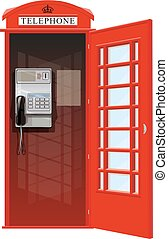London Telephone Booth - Empty London red classic telephone...