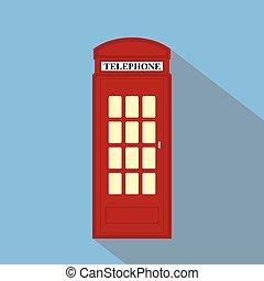 London Telephone flat vector long shadow