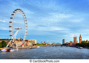 London, the UK skyline. Big Ben, London Eye and River Thames. English symbols
