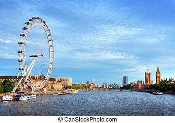 London, the UK skyline. Big Ben, London Eye and River Thames. English symbols