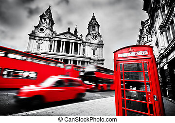 London, the UK. St Paul's Cathedral, red bus, taxi cab...