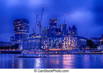London, the United Kingdom: Skyscrapers of Downtown River Thames