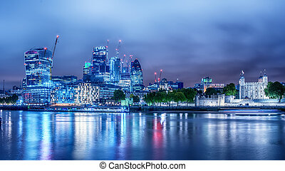 London, the United Kingdom: the Downtown and the Tower from the River Thames