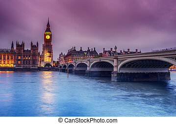 London, the United Kingdom: the Palace of Westminster with Big Ben, Elizabeth Tower, viewed from across the River Thames
