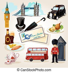 London Touristic Set - London decorative icons set with...