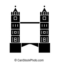 london - tower bridge icon, vector illustration, black sign on isolated background