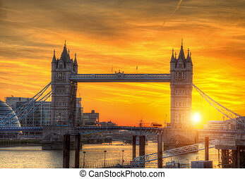 London tower Bridge in sunset light
