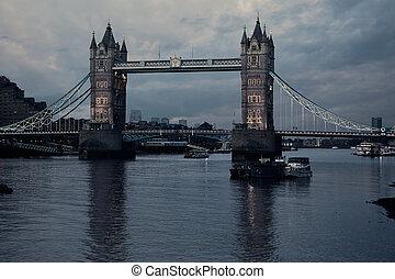 London Tower Bridge sunset on Thames river