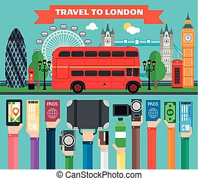 London travel concept design flat with bus.Vector...
