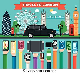 London travel concept design flat with taxi.Vector...