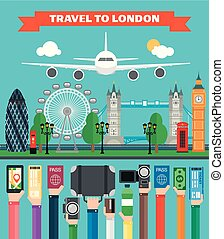 London travel design flat with plane.Vector illustration
