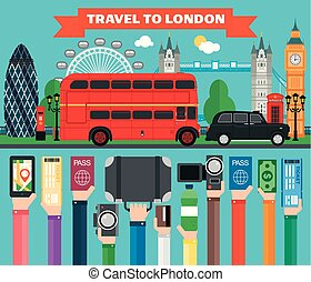 London travel flat concept design with bus and taxi.Vector...