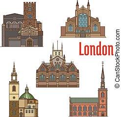 London travel landmark of british church icon set - London...