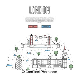 London travel tour poster in linear style