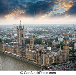 London, UK. Houses of Parliament and Big Ben, beautiful aerial view at sunset.