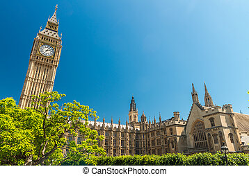 London, UK. Houses of Parliament on a beautiful summer day