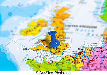london in united kingdom pinned on colorful political map of europe geopolitical school atlas tilt shift effect