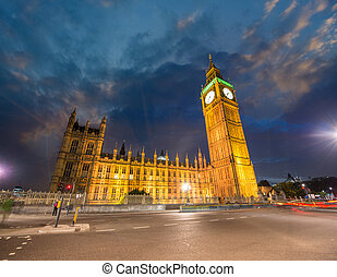 London, UK. Stunning view of Westminster Palace. Houses of Parliament at sunset.