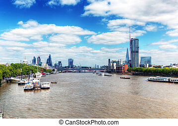 London, UK. View on River Thames and St Paul's Cathedral, the city.