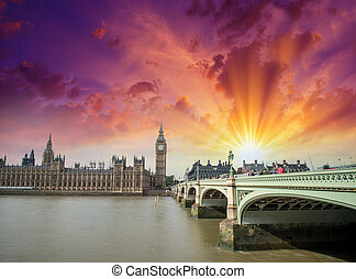London, UK. Wonderful view of Westminster Bridge and Houses of P