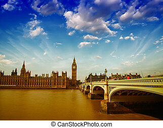 London, UK. Wonderful view of Westminster Bridge and Houses of Parliament at dusk.