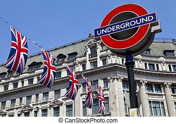 London Underground and Union Flags - London Underground sign...